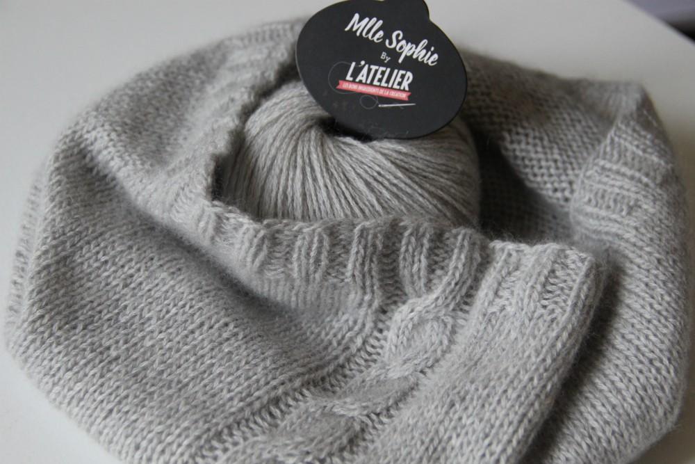 kit tricot snood dear James - cachemire Mlle Sophie Atelier de la création